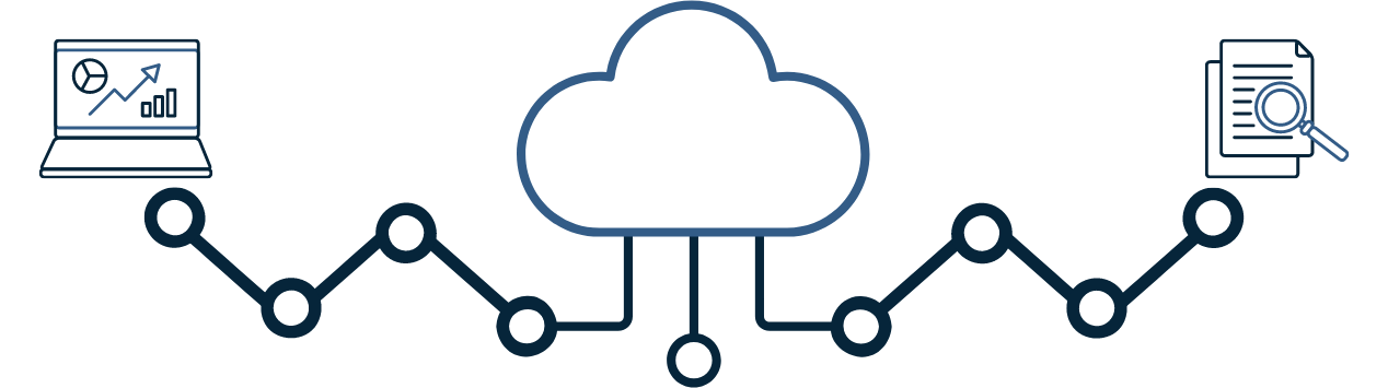 Image of cloud attached to a laptop and attached to a document with a magnifying glass